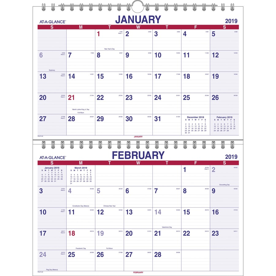 Monthly Wall Calendar : At a glance look forward monthly wall calendar aag