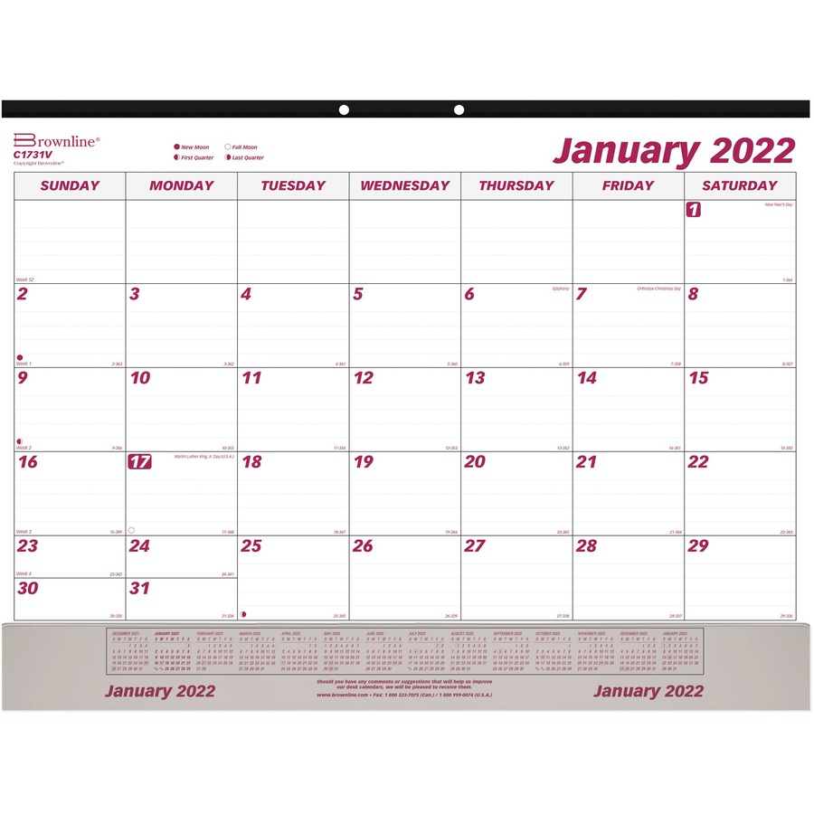 Brownline Vinyl Strip Monthly Desk Pad Red C1731v