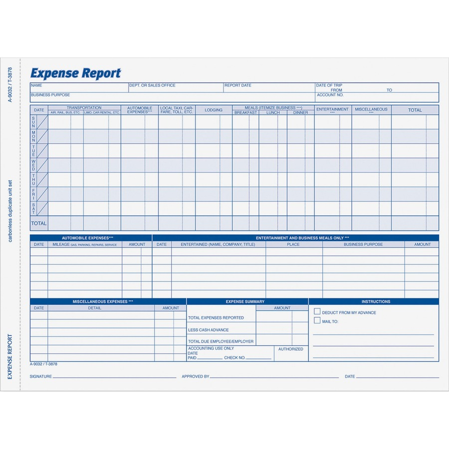 Adams Weekly Expense Report Forms