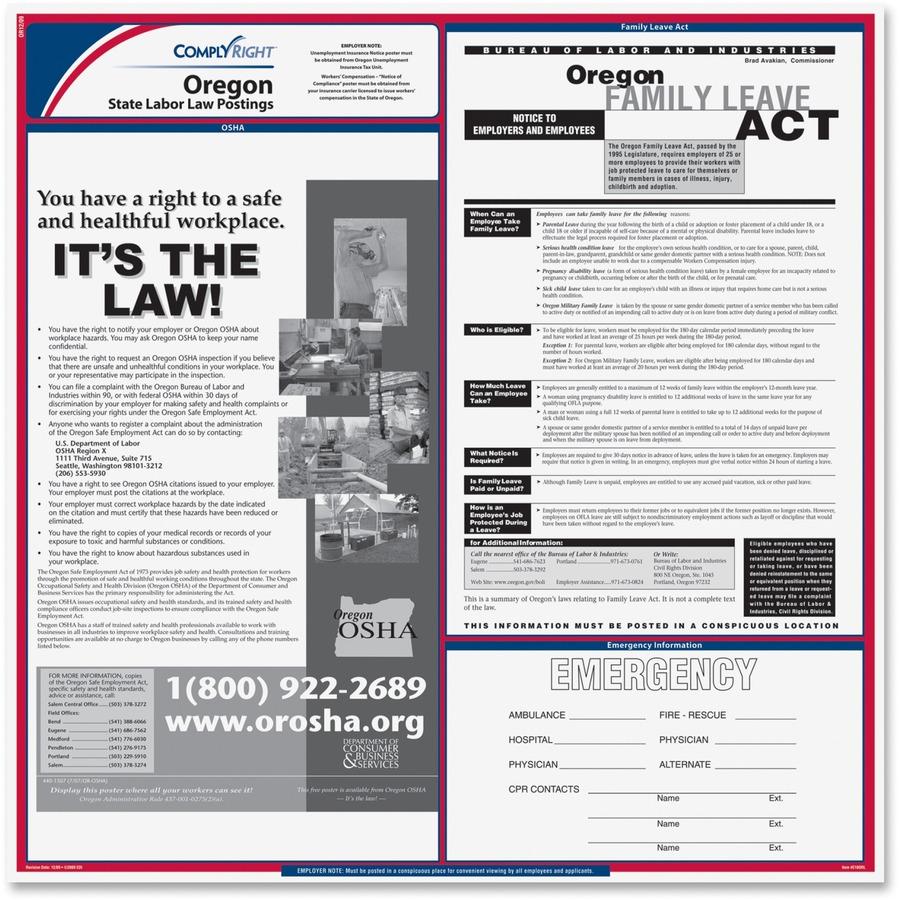 complyright oregan state labor law poster tfp e10or. Black Bedroom Furniture Sets. Home Design Ideas
