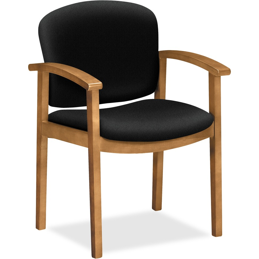 HON 2111 Single Rail Harvest Wood Guest Chairs