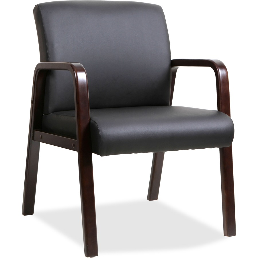 wholesale lorell black leather wood frame guest chair llr40201. Black Bedroom Furniture Sets. Home Design Ideas