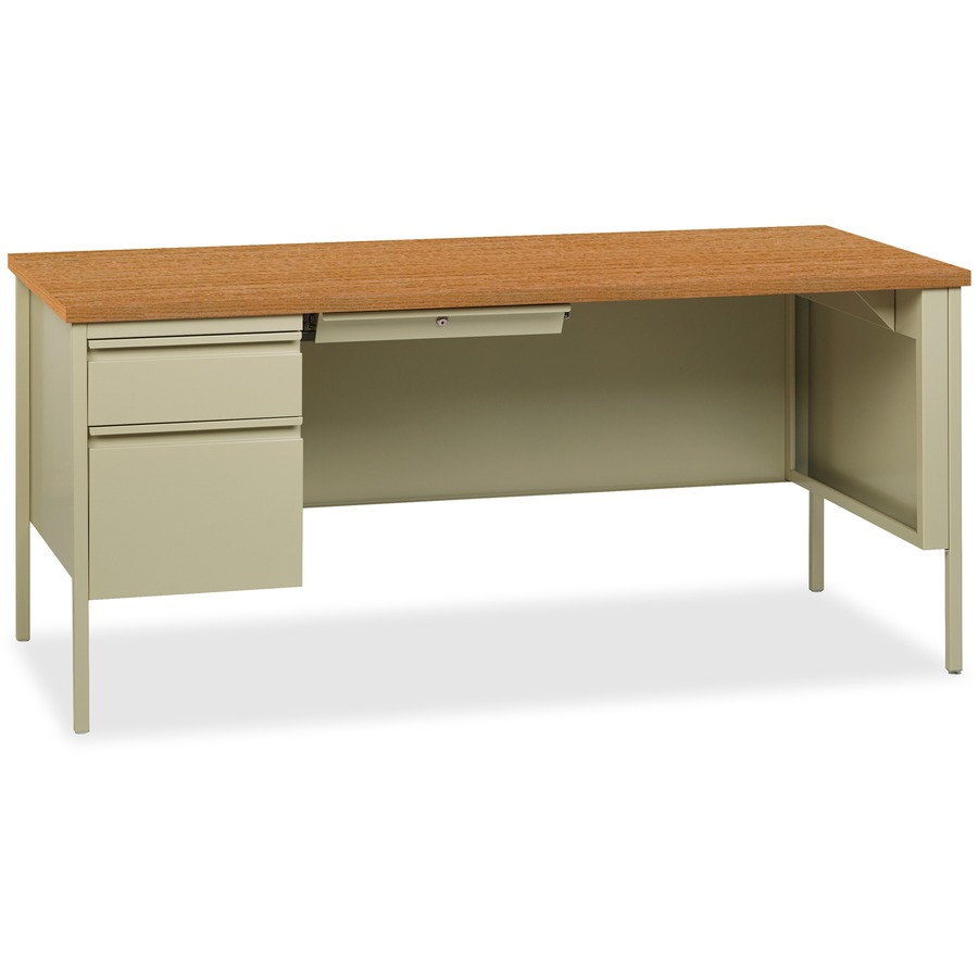 Lorell fortress series left pedestal desk for Table with that left
