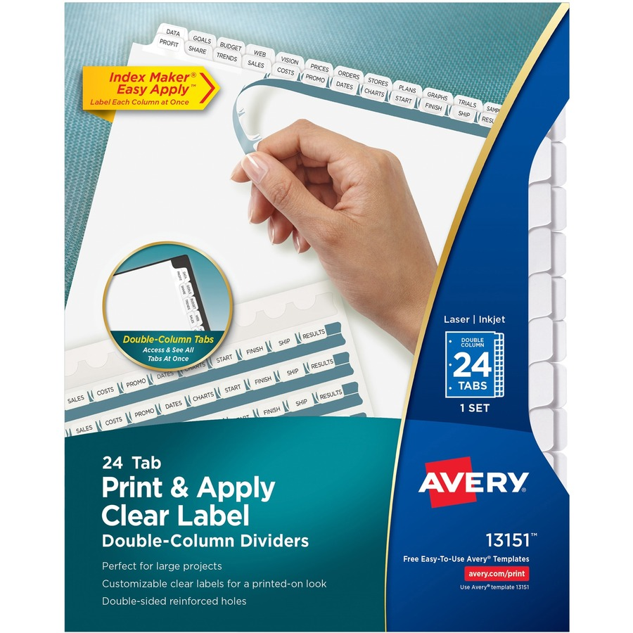 Averyreg Index Maker Print Apply Clear Label Double Column Dividers AVE13151