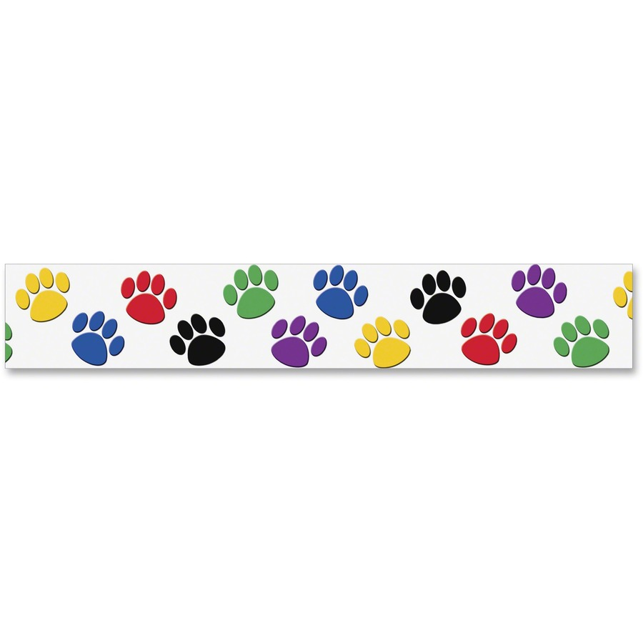 Colorful Paw Prints Border Trim Learning Theme Subject 12 Acid Free 3 Height X 35 Length 1 Pack