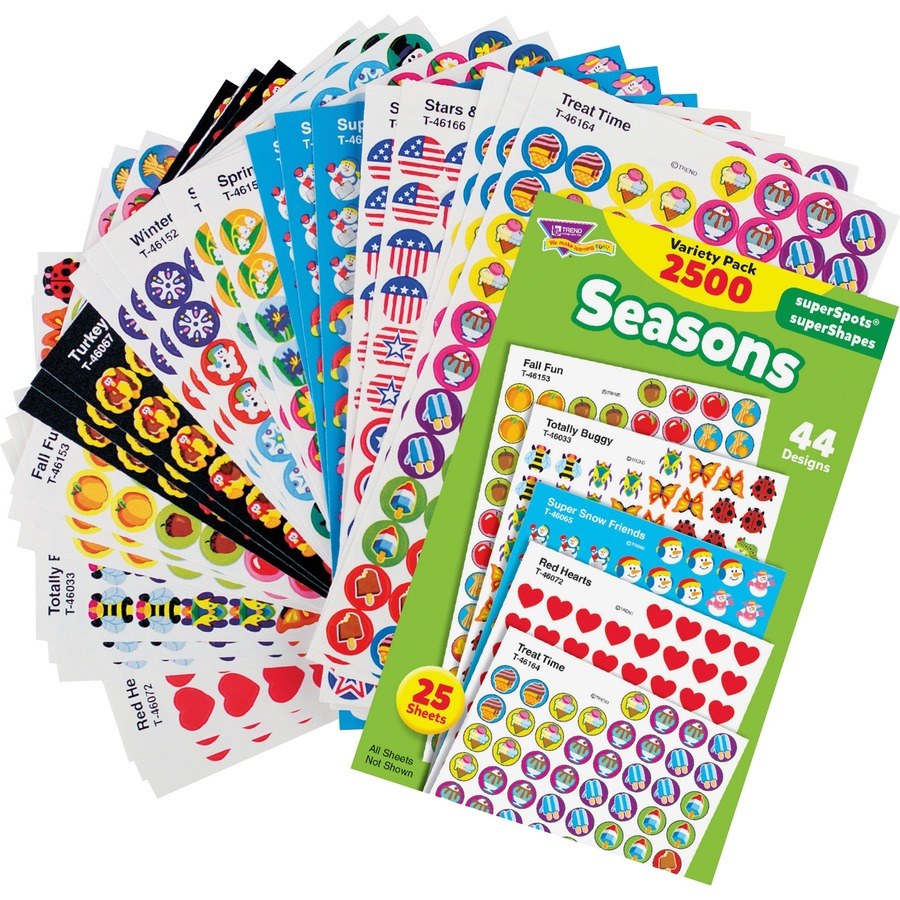 Trend Seasons Superspots Supershapes Stickers Fall Fun Turkey Time Super Snow Friends Winter Joys Red Hearts Spring Flowers Totally Buggy
