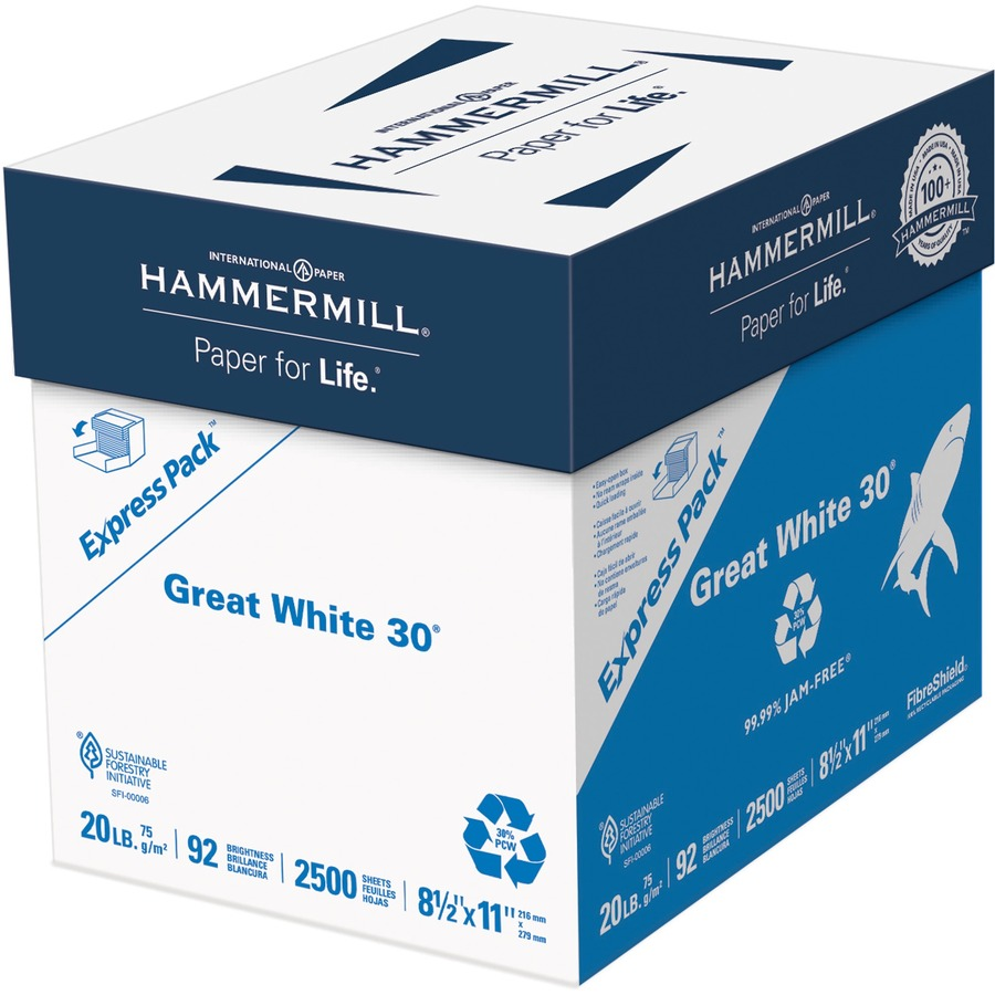 """Hammermill-Great White 30/% Recycled Copy Paper,20lb,92 Bright,8-1//2 x 14/"""" 2pack."""