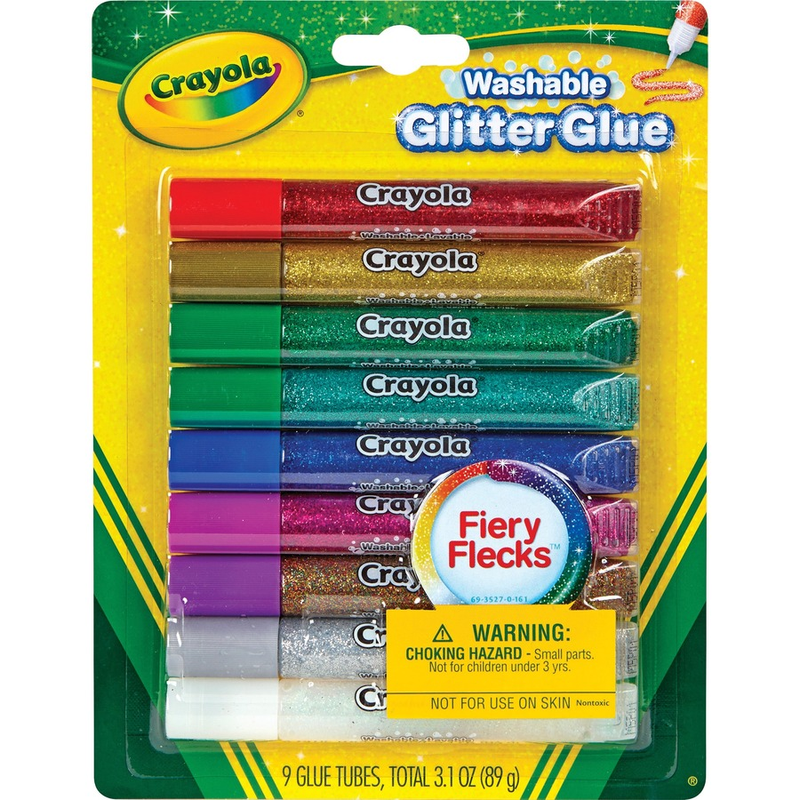 Crayola Washable Glitter Glue - Home Project, ClassRoom Project, Art,  Decoration - 9 / Pack - Blue, Green, Jade Green, Natural, Silver, Gold,  Multi,