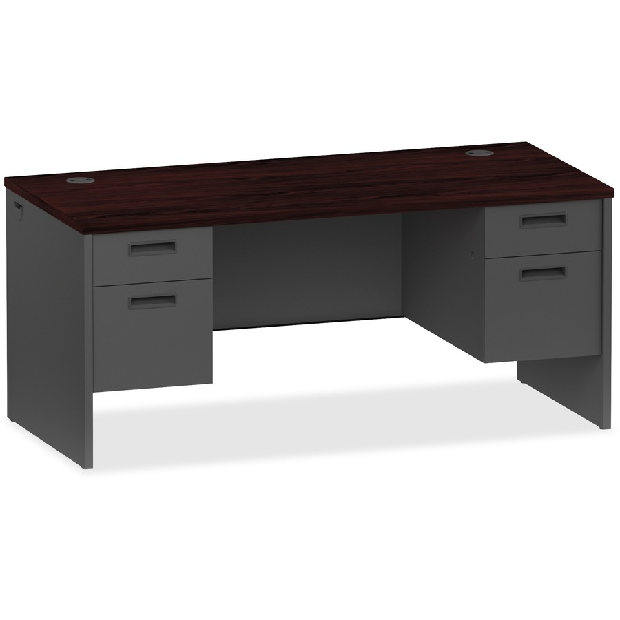 Lorell Gany Charcoal Pedestal Desk 66 X 30 29 5 2 Box Drawer S File Double Material Steel Finish