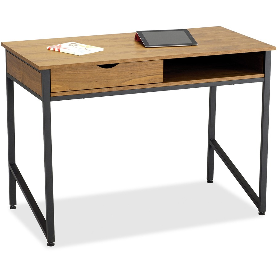 Safco Single Drawer Office Desk Rectangle Top 4 Legs 43 25 Table Width X 21 63 Depth 30 75 Height Assembly Required