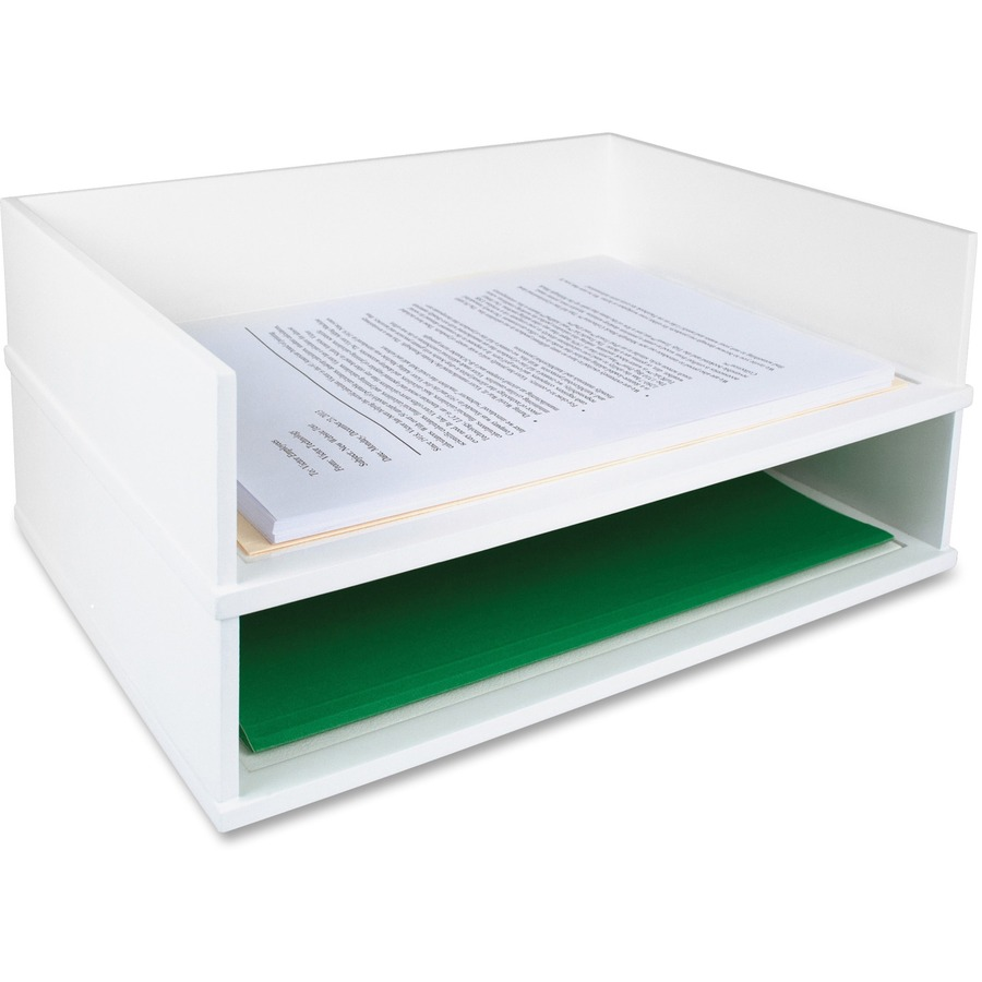 victor w1154 pure white stacking letter tray vctw1154
