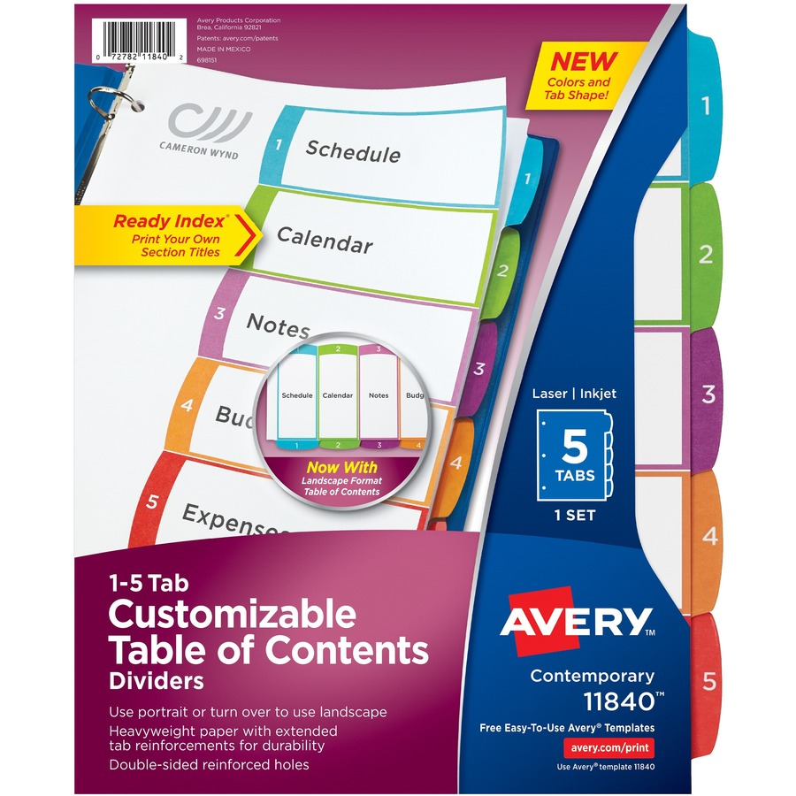 Avery ready index table of contents dividers ave11840 for Avery index tabs template