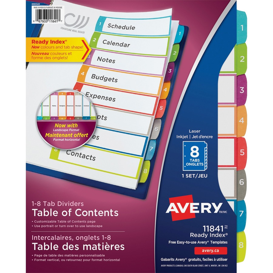 Ave11841 Avery Ready Index Customizable Table Of Contents