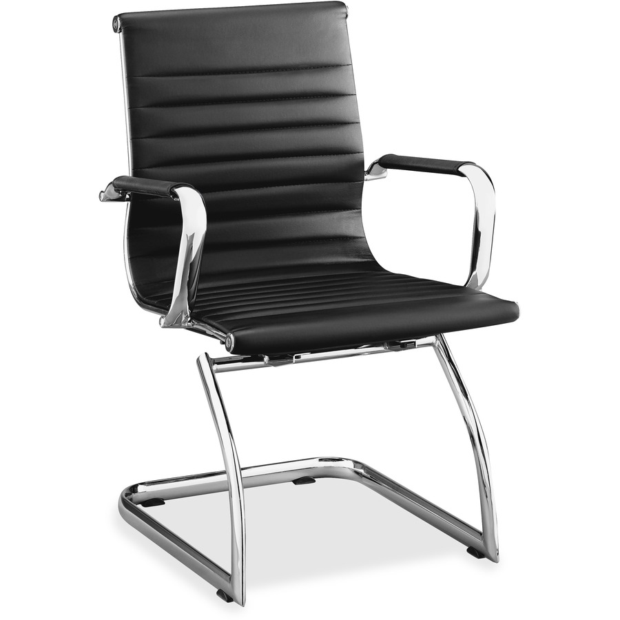 Superb Lorell Modern Chair Mid Back Leather Guest Chair Leather Seat Leather Back Cantilever Sled Base Black 23 5 Width X 23 8 Depth X 35 5 Beatyapartments Chair Design Images Beatyapartmentscom