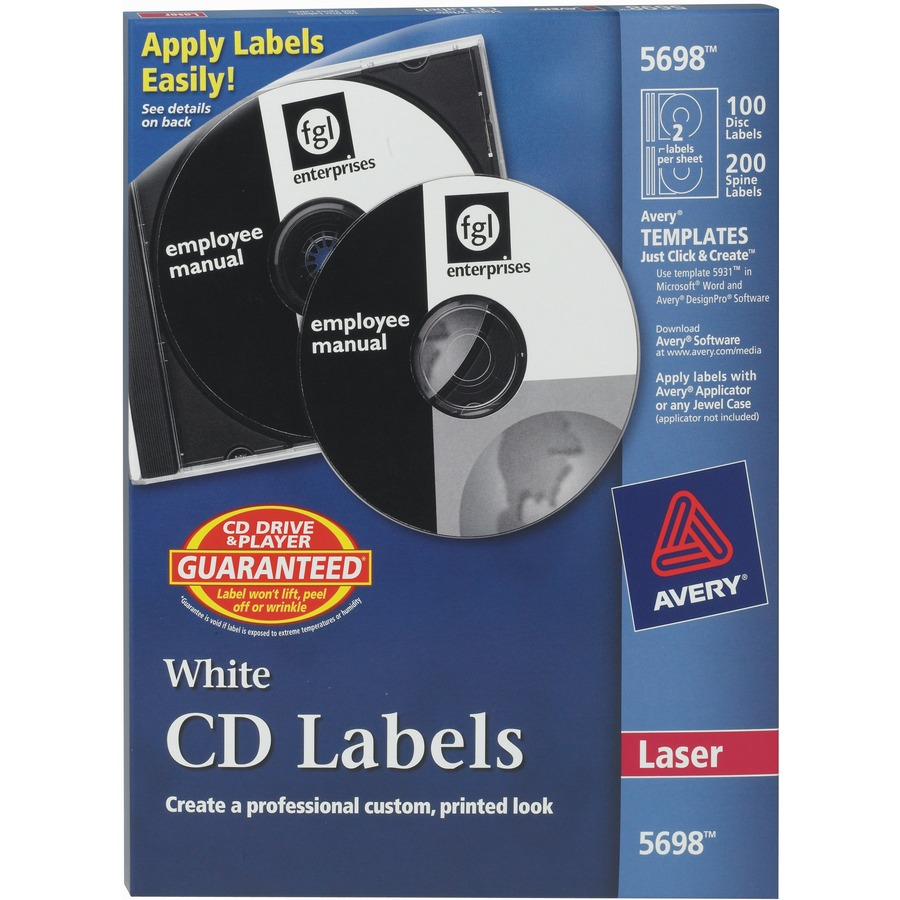 Avery 5698 avery cd dvd and jewel case spine label for Free avery cd label templates