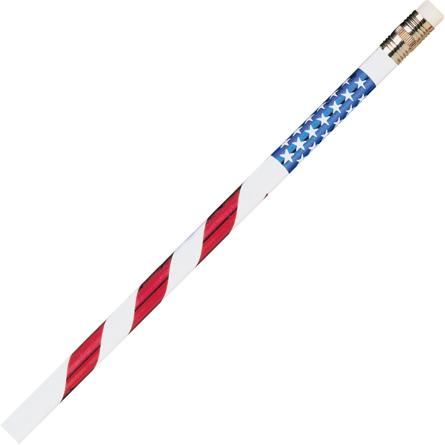 White, #2 Pencil Grade Moon Products Stars /& Stripes Themed Pencils Red