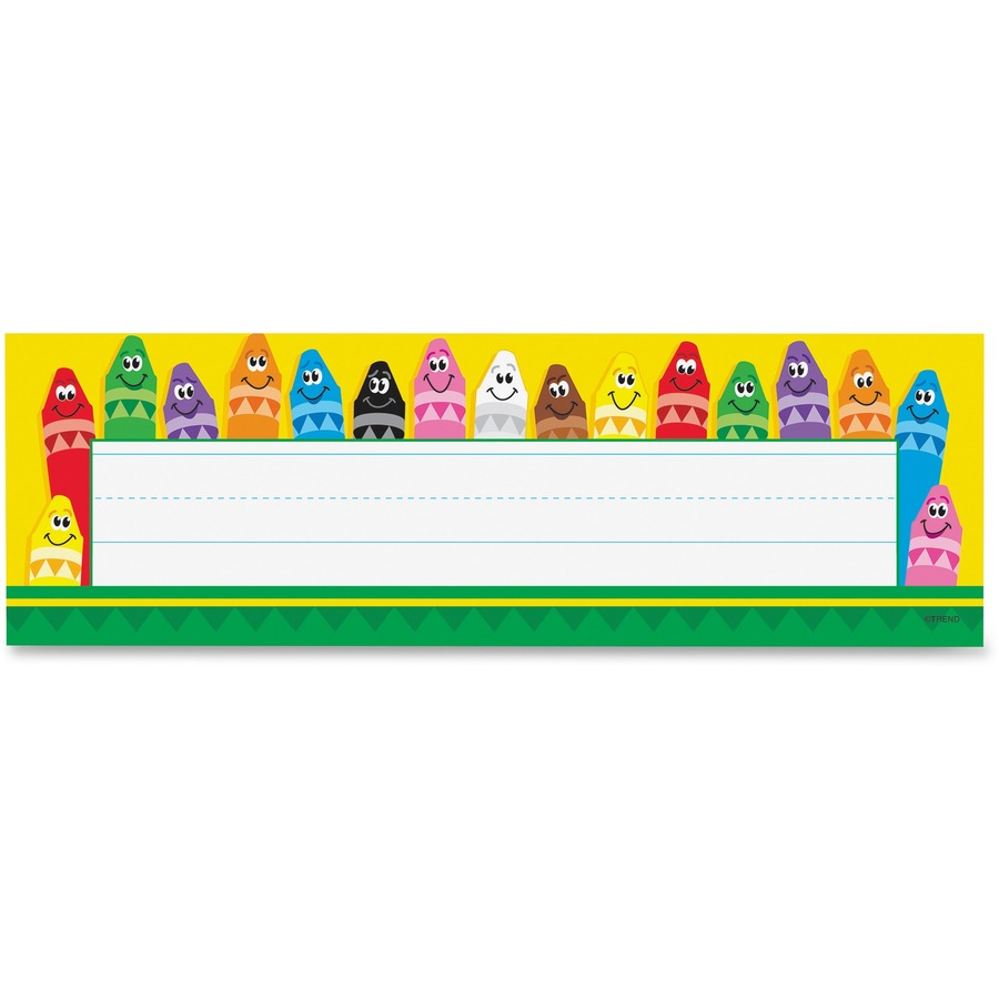 36 ct TREND enterprises Colorful Crayons Desk Toppers Name Plates Inc