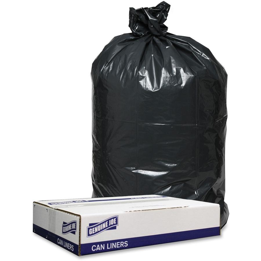 Genuine Joe 1 2mil Black Trash Can Liners - 40