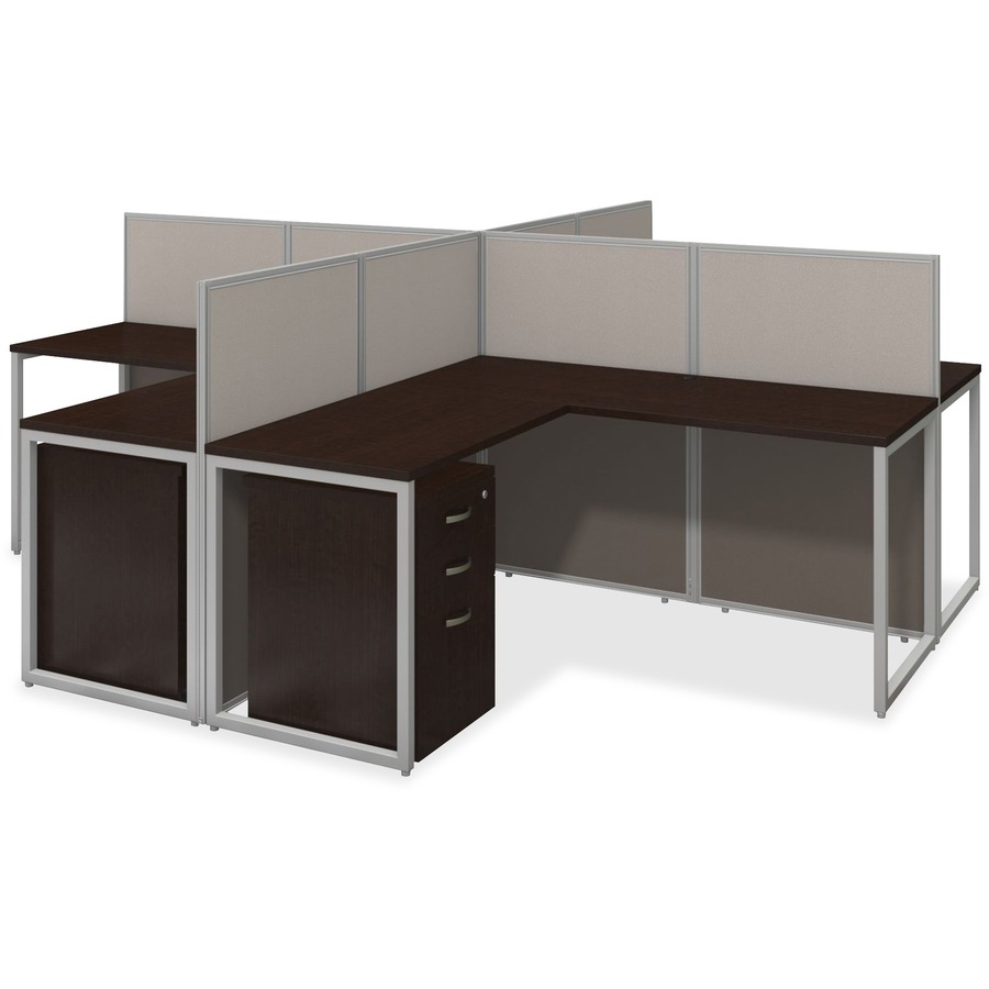 reputable site 166ed 01696 bbf 60W 4 Person L Desk Open Office with 3 Drawer Mobile Pedestals -  L-shaped Top - 3 Drawers - 1 Pedestals - 119.09
