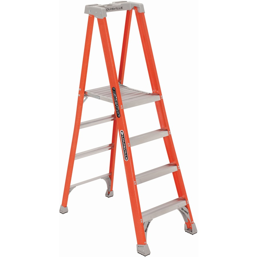 Astounding Louisville 4 Fibrglss Platform Step Ladder 4 Step 300 Lb Load Capacity48 Orange Pdpeps Interior Chair Design Pdpepsorg
