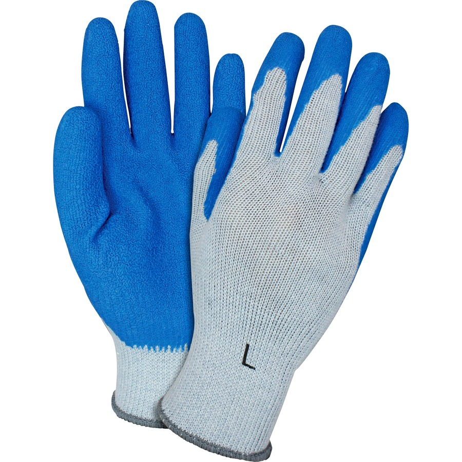 LARGE SIZE 3 DZ 36 PAIRS STANDARD STRING KNIT PVC DOT ONE SIDE WORK GLOVES