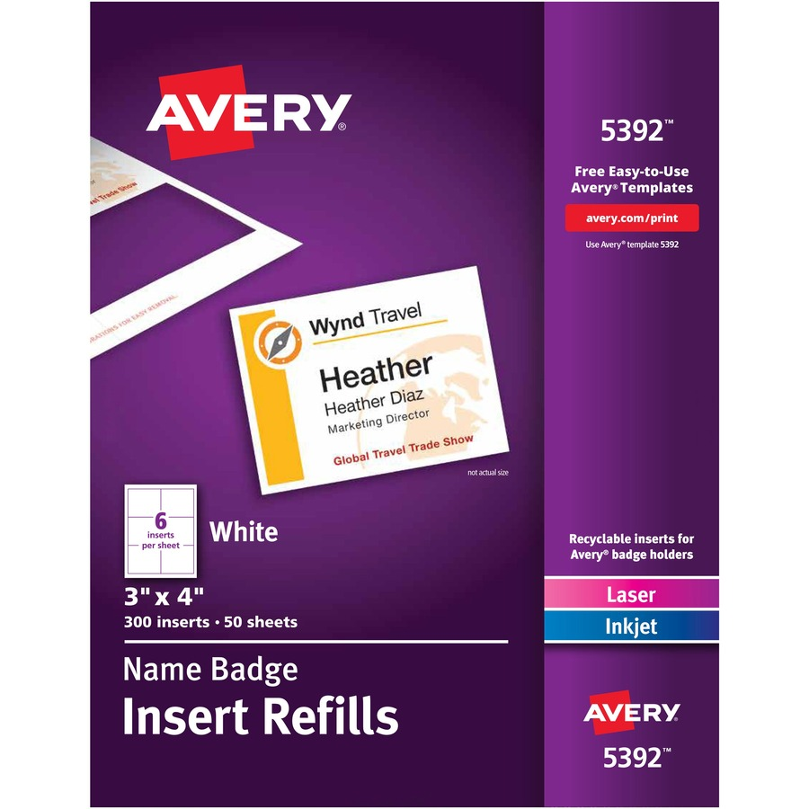 Avery Reg Name Badge Insert Refills Ave5392