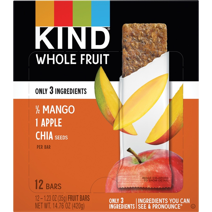 KIND Pressed Mango Apple Chia Fruit Bars - Dairy-free, Gluten-free,  Non-GMO, Low Sodium, Low Fat - Mango Apple Chia - 1 23 oz - 12 / Box