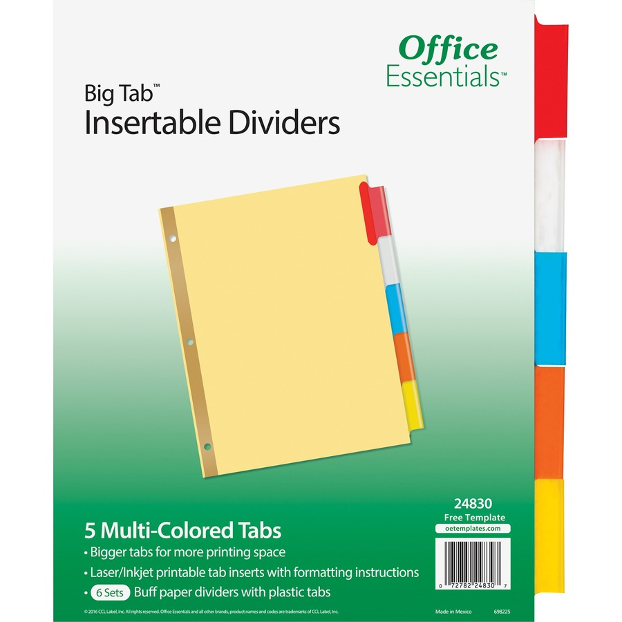 Avery Big Tab Multi Color Tabs Insertable Dividers Formydesk