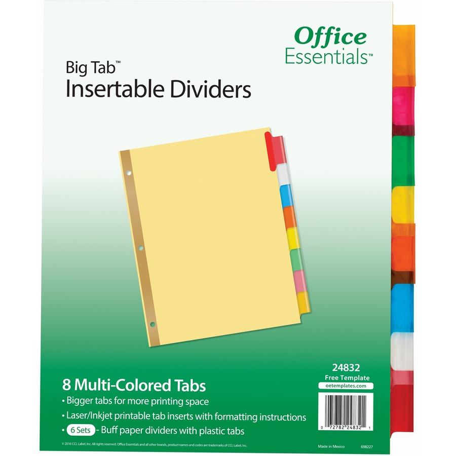 Big Tab Insertable Dividers 8 Tab Template Avery Tab Dividers