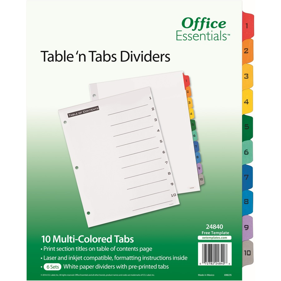 Avery Table N Tabs Numeric Dividers 10 Tab Set Formydesk