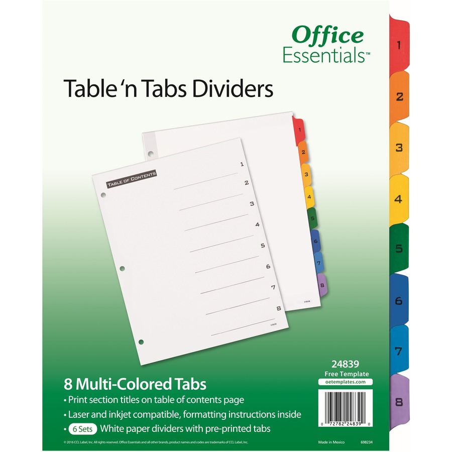 Avery Table N Tabs Numeric Dividers 8 Tab Set Formydesk
