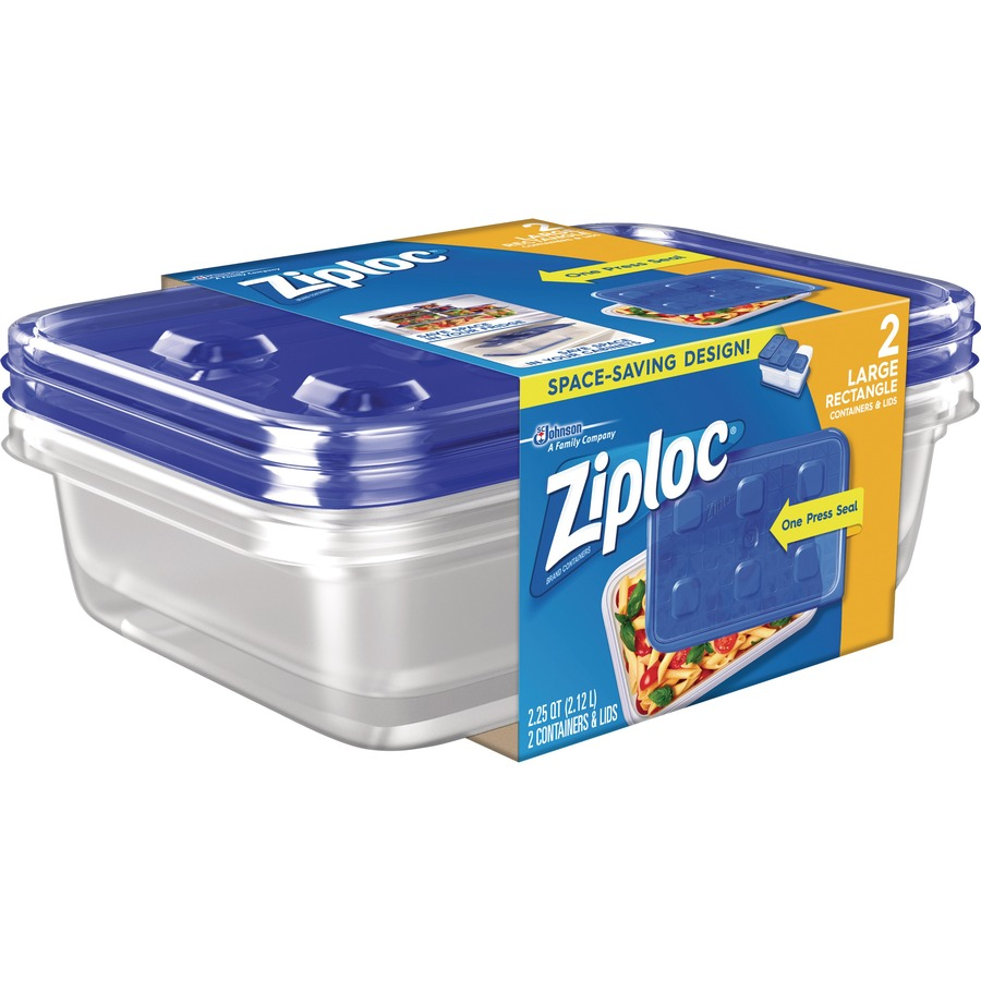 Ziploc Brand Storage Containers 2 3 Quart Food Container Lid Plastic Dishwasher Safe Microwave Safe Clear 2 Piece S Pack