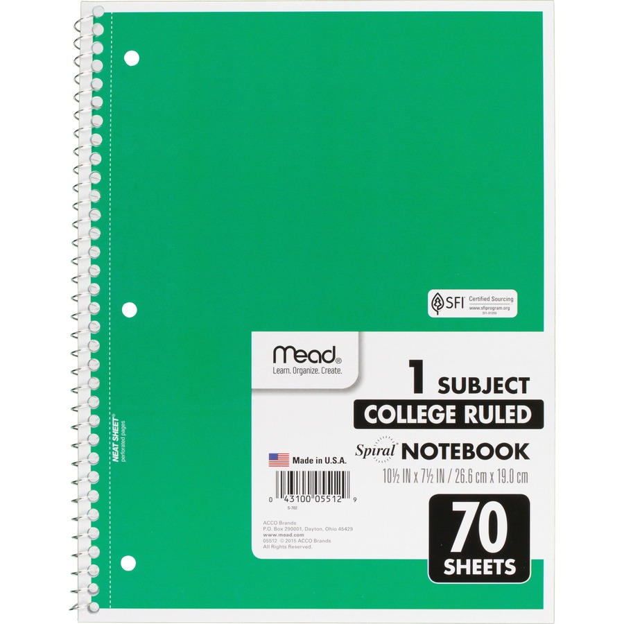 Mead One Subject Spiral Notebook Mea05512bd