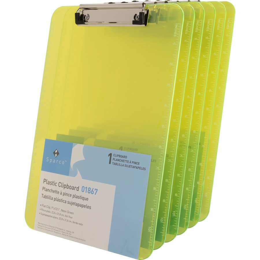 Attrayant Sparco Transparent Plastic Clipboards With Flat Clip Low Profile   Neon  Green   6 / Bundle