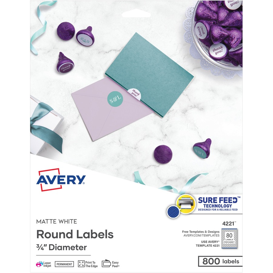Avery matte white print to edge round labels ave4221