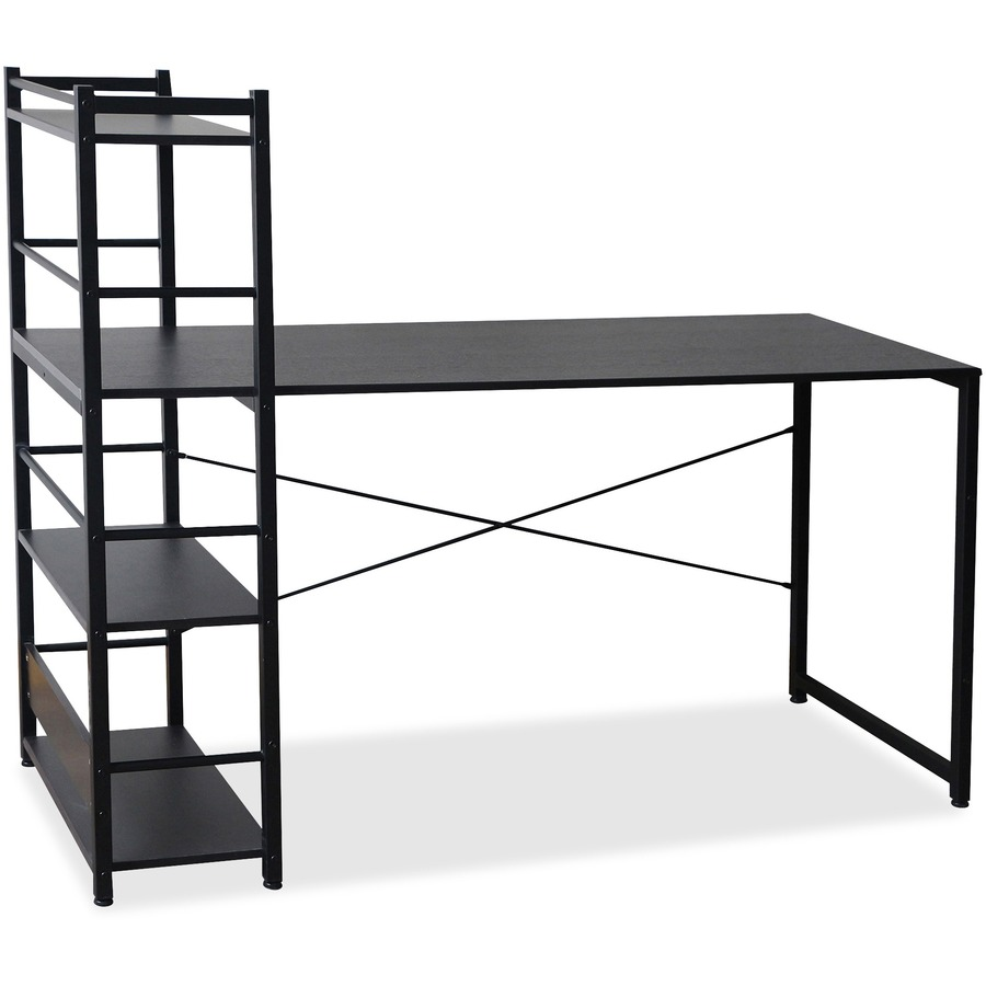 Lorell Multishelf Tower Computer Desk Laminated Espresso Rectangle Top 59 Table Width X 23 62 Depth 47 Height Assembly Required