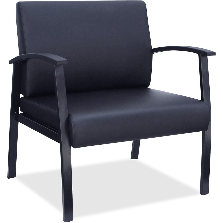 lorell big tall black leather guest chair direct office buys