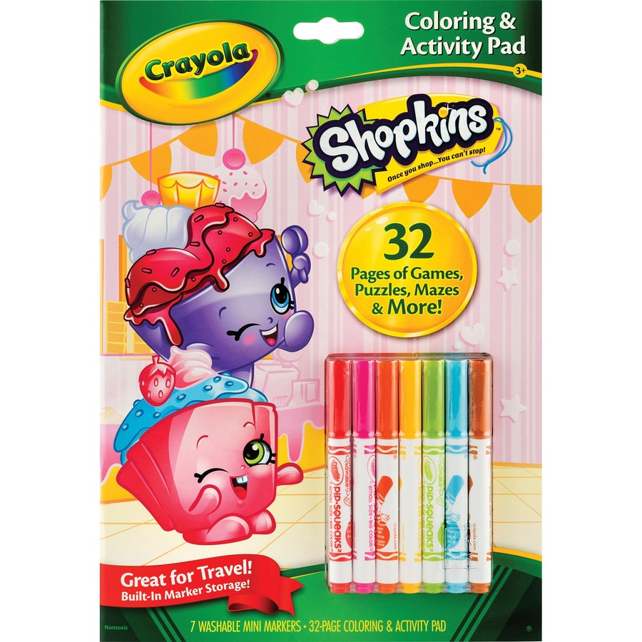 Crayola Shopkins Coloring/Activity Pad Travel Kit - Direct Office Buys
