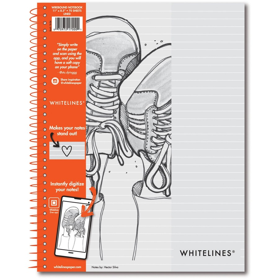 Roaring Spring Spring Whitelines Wirebound Notebook - Letter - 70 Sheets -  Printed - Wire Bound - College Ruled - 8 1/2