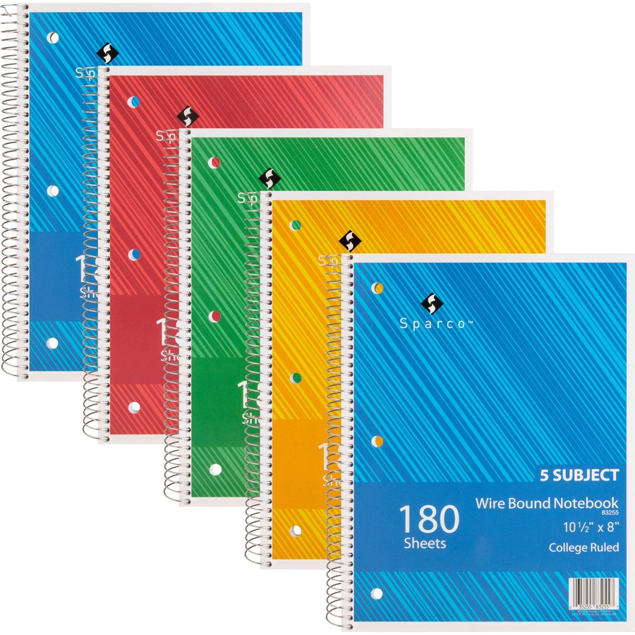 sparco wirebound college ruled notebooks mac papers inc