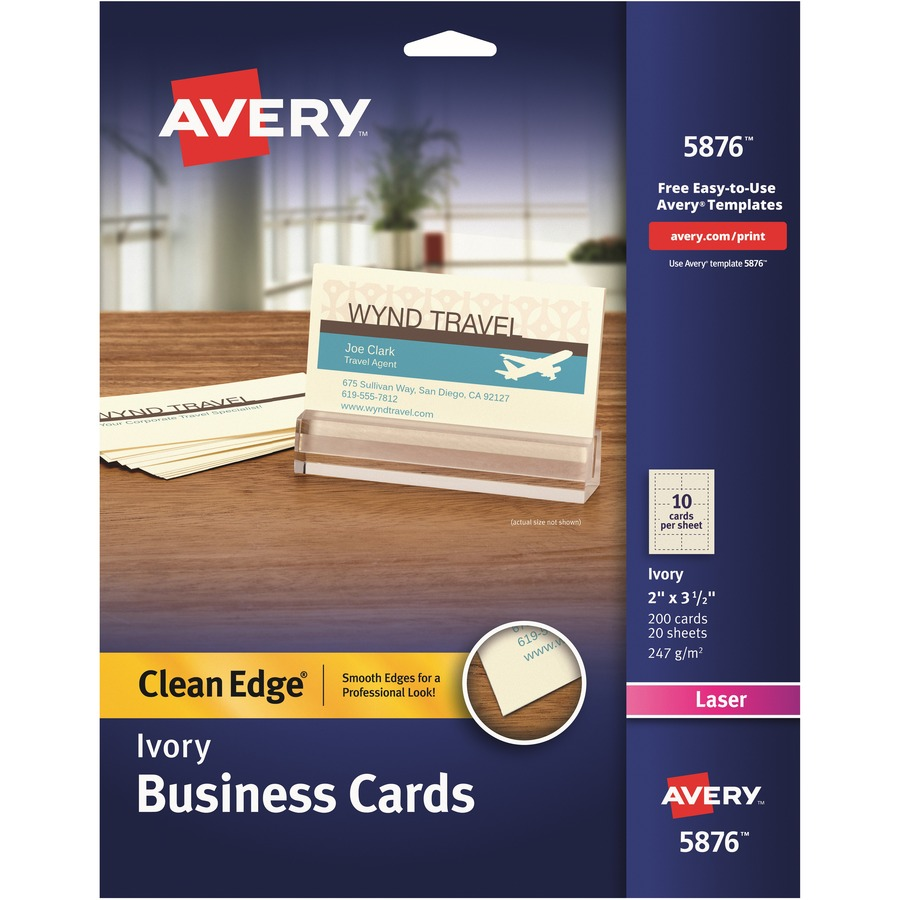 Avery clean edge laser print business card icc business products averyreg clean edge laser print business card ave5876 reheart Image collections