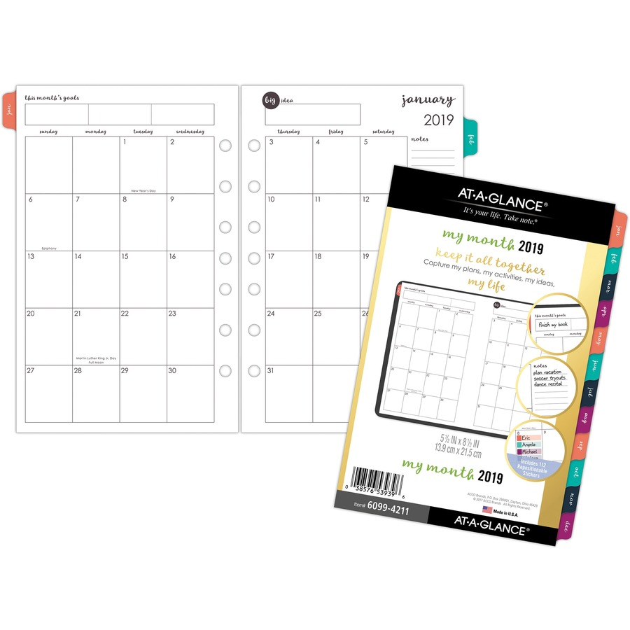 at a glance harmony 2 page per month monthly planner refill direct