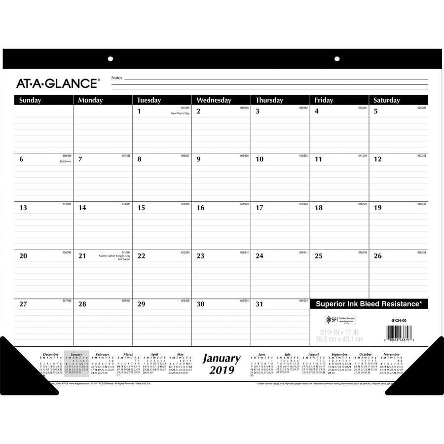 c8957bcb832 AAGSK240019 - At-A-Glance Classic Monthly Desk Pad - Yes - Monthly ...