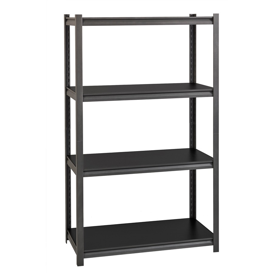 Lorell 3 200 Lb Capacity Riveted Steel Shelving 60 Height X 36 Width X 18 Depth Recycled Black Steel Laminate 1each Bluebay Office Inc