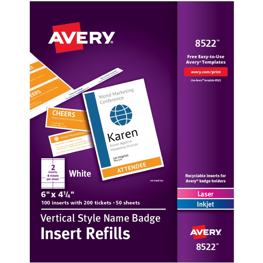 avery vertical name badge ticket inserts perfect output llc