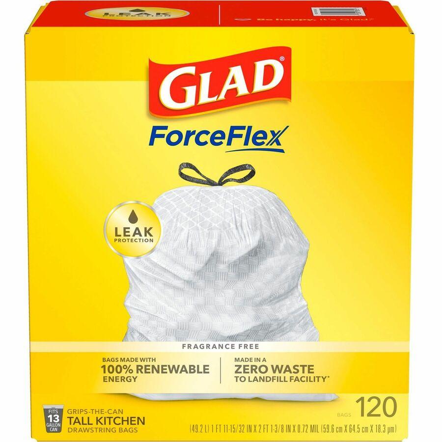 Glad Tall Kitchen Drawstring Trash Bags - 13 gal - 9 mil (229 Micron)  Thickness - White - Plastic - 360/Carton - 120 Per Box - Home, Day Care, ...