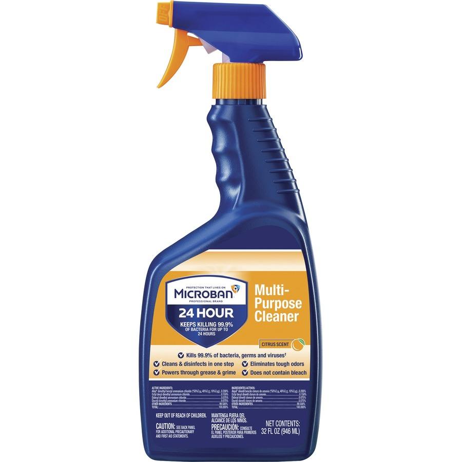 Microban Professional Multipurpose Clean Spray - Ready-To-Use Spray - 0 25  gal (32 fl oz) - Citrus Scent - 1 Bottle - Multi