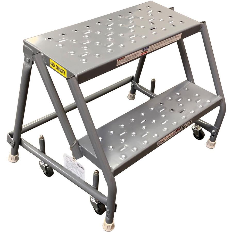 Louisville 2 Step Steel Warehouse Ladder 450 Lb Load Capacity 19 X 28 20 Gray