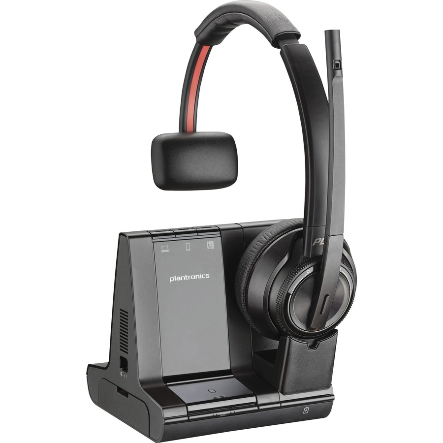 Plantronics Savi Wireless Headset System Mono Wireless Bluetooth Dect 6 0 590 Ft 20 Hz 20 Khz Over The Head Monaural Noise Cancelling Microphone Noise Canceling Black Latsons Com