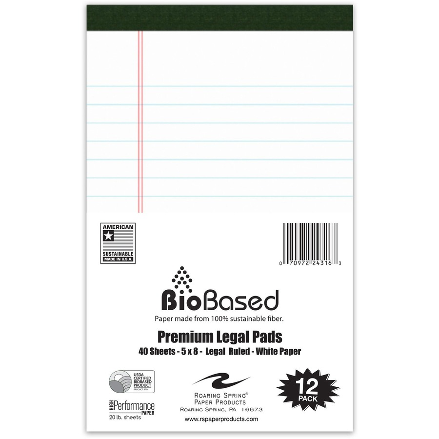 Roaring Spring BioBased USDA Certified Bio-Preferred Junior Size Legal Pads 5 x 8 40 Sheets White 12 Pack